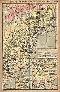 Map of campaigns in the Revolutionary War.