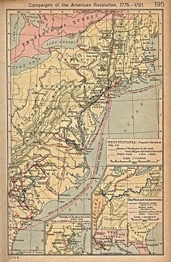Map of campaigns in the Revolutionary War