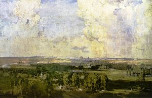 "Battle of Amiens (1918) - ""Amiens, the key to the west"" by Arthur Streeton, 1918."