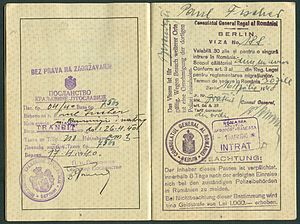 Amtsdokument Paul Fischer 1940 Deutsches Reich Reisepass Seite 10 11 Bez Prava Na Zadrzavanje Transit Consulatul General Al Romaniei Berlin Aeroport Baneasa.jpg