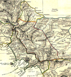 Samnium - Map of ancient Samnium from The Historical Atlas by William R. Shepherd, 1911.