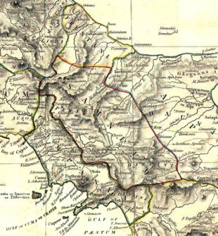 Il Sannio secondo l'Historical Atlas. L'insediamento di Aletrium è ben riconoscibile nel territorio irpino.