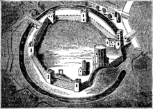 Black and white engraving of a tower set in a circular wall