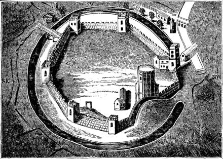 16th-century illustration of Oxford Castle