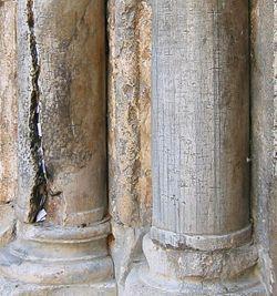 Ancient graffiti carved by pilgrims at Church of the Holy Sepulcher, Old City of Jerusalem