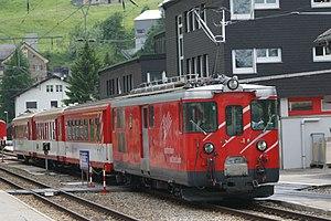 Andermatt railway station - A regional train at Andermatt station