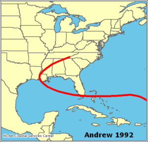 Effects of Hurricane Andrew in The Bahamas - Track of Hurricane Andrew through the Bahamas, southern Florida, and the southeastern United States