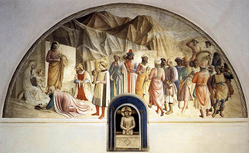 Archivo:Angelico, affresco s. marco, adorazione dei magi cella 39.jpg