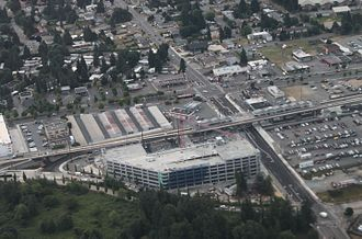 Angle Lake station - Aerial view of Angle Lake station and its parking garage under construction in June 2016