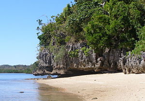 Madagascar dry deciduous forests - Anjajavy Forest on Tsingy rocks juts into the Indian Ocean.