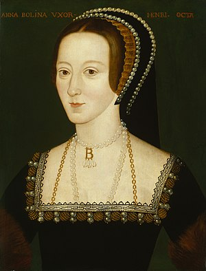 1500–1550 in Western European fashion - Portrait of Anne Boleyn, wife of Henry VIII of England, depicting Anne in c.1533, wearing a French hood trimmed with pearls, and a square-necked black velvet gown decorated with the same pearls and embroidery, and furred sleeves.