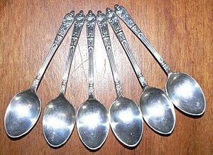 English: A set of six Apostle spoons.