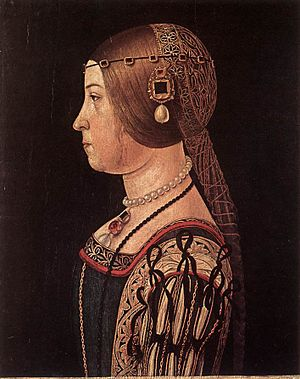 La Bella Principessa - A portrait by Ambrogio da Predis of Beatrice Sforza showing a similar hairstyle