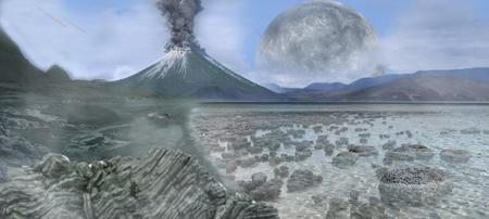 Reconstitution d'un paysage archéen avec des stromatolithes dans l'eau. La Lune est alors plus proche de la Terre.