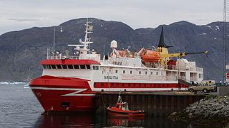 Tunulliarfik Fjord - Sarfaq Ittuk of Arctic Umiaq Line moored at Narsaq port