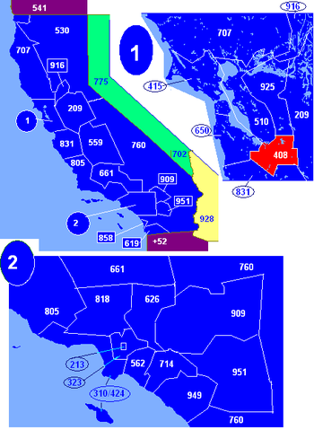 Map of California area codes in blue (and border states) with 408 in red