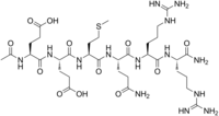 Stereo, skeletal formula of acetyl hexapeptide-3