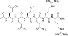 Stereo, skeletal formula of acetyl hexapeptide-8