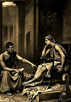 Alexander the Great - Aristotle Tutoring Alexander, by Jean Leon Gerome Ferris