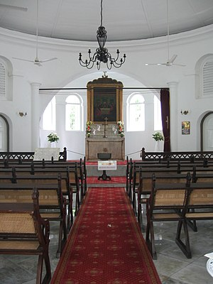 Armenian Church, Singapore - The Church's interior showing the altar and nave