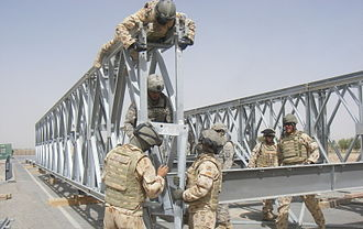 Military history of Australia during the War in Afghanistan - Australian and US Army engineers working on a bridge in Afghanistan in August 2008