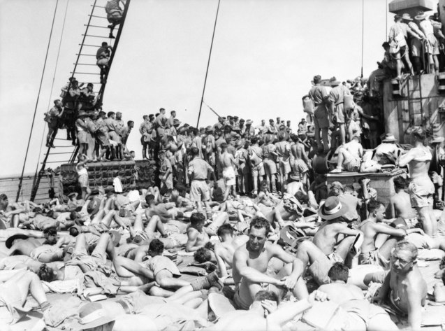 Australian soldiers relaxing on the Nieuw Amsterdam during Operation Pamphlet in February 1943