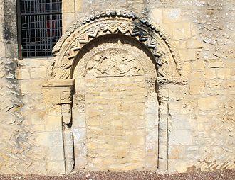 Authie, Calvados - Image: Authie église Saint Vigor portail