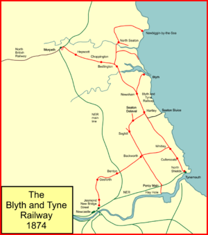 Blyth and Tyne Railway - System map of the Blyth and Tyne Railway in 1874