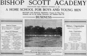 Bishop Scott Academy - 1903 advertisement for Bishop Scott Academy