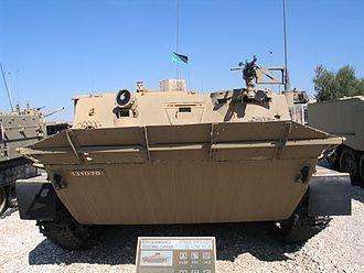 BTR-50 - Front of the Israeli-modified ex-Syrian or ex-Egyptian late-production model BTR-50PK APC at the Yad la-Shiryon Museum, Israel. 2005. Note the elevated trim vane and IR searchlight.