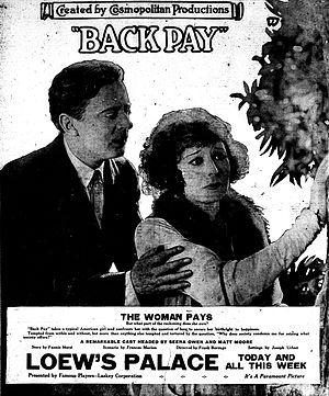 Back Pay (1922 film) - Newspaper advertisement