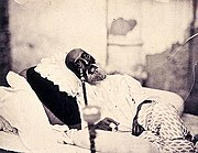 Bahadur Shah Zafar exiled in Rangoon. Photograph by Robert Tytler and Charles Shepherd, May 1858.