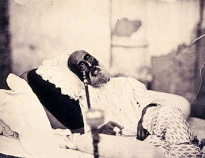 Bahadur Shah Zafar in 1858, just after his show trial in Delhi and before his departure for exile in Rangoon. This is possibly the only photograph ever taken of a Mughal emperor.
