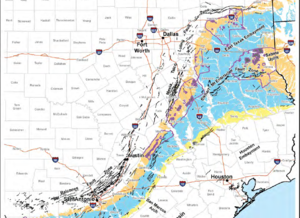 Balcones Fault - Geologic map of the Balcones, and the Mexia-Talco-Luling Fault Trends, where black lines are faults, the blue shaded area is the Claiborne Group, yellow is the Jackson Group, and tan is the Wilcox Group