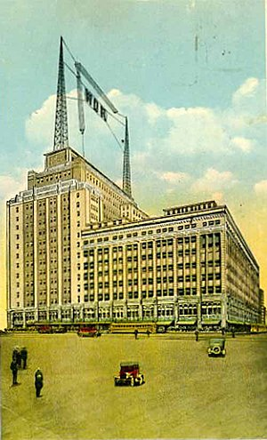 Bamberger's - Newark store, airborne voice. With studio on the 6th floor and showy antenna on the roof, Bamberger's launched WOR to sell more radios.