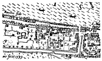 The Rose (theatre) - Image: Bankside the Bear Garden and the Rose Theatre Norden's Map of London, 1593