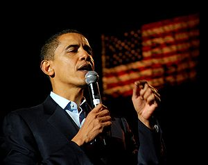 Senator Barack Obama speaks to a crowd of supp...