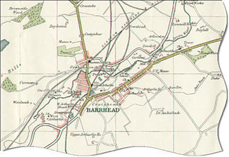 Paisley and Barrhead District Railway - 1923 map of central Barrhead showing the railway lines