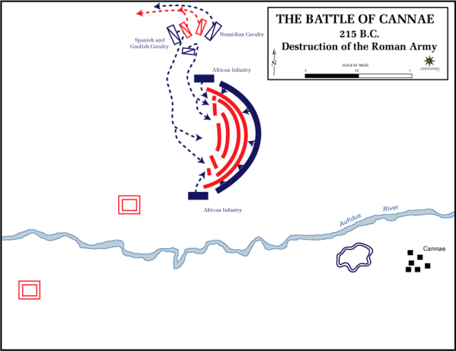 Destruction of the Roman army (red), courtesy of The Department of History, United States Military Academy Battle cannae destruction.gif