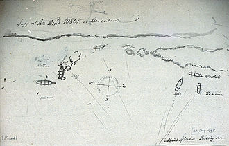 Action of 22 August 1795 - Plan of engagement between Isis, Reunion, Stag and Vestal and the Dutch frigate Alliantie, 22 Aug 1795; sketch c. 1795, by Nicholas Pocock