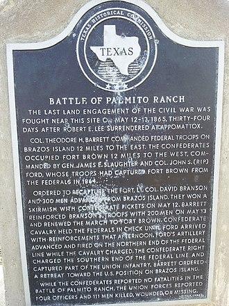 Battle of Palmito Ranch - Texas historical marker