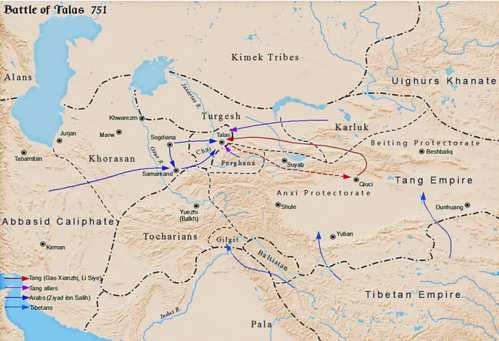 Battle of Talas between Tang dynasty and Abbasid Caliphate c. 751 Battle of Talas.png