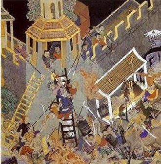 Malaysian Indians - A Siamese painting depicting the Chola raid on Kadaram (modern day Kedah) in year 1025.