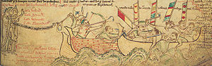 Battle of Sandwich (1217) - The Battle of Sandwich, showing the capture of the French flagship and the killing of Eustace the Monk