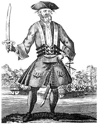 Pirates in popular culture - Engraving of the English pirate Blackbeard from the 1724 book A General History of the Pyrates