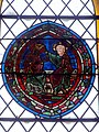 Belle-Église (60), église Saint-Martin, collatéral nord, verrière n° 5, médaillon XIIIe s. - couronnement de la Vierge.JPG