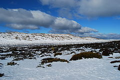 Snow field on top of Ben Lomond, in northeast Tasmania. See also: Climate of Tasmania