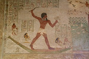 Khnumhotep II - Khnumhotep II depicted while hunting birds in the marshes