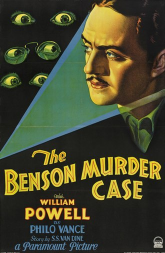Philo Vance - Poster for The Benson Murder Case (1930), starring William Powell as Philo Vance