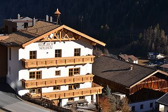 Tyrol (state) - Berghof (Sölden), a typically old tyrolean farmstead, now an alpine lodge – tourist accommodation for guests